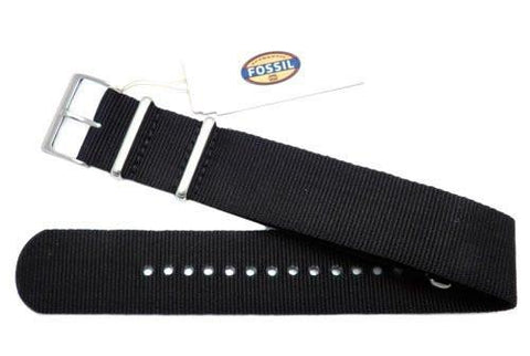 Genuine Fossil Black Polyester Gingham Style 24mm Watch Strap