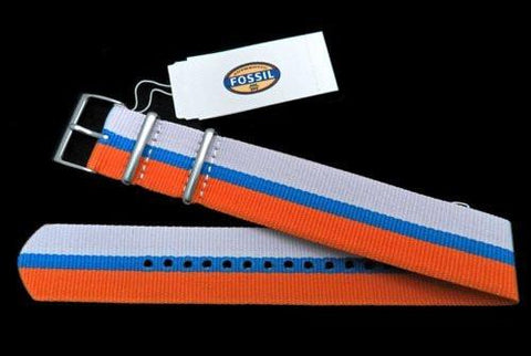 Genuine Fossil Stripe White, Light Blue, and Orange Polyester 22mm Watch Strap