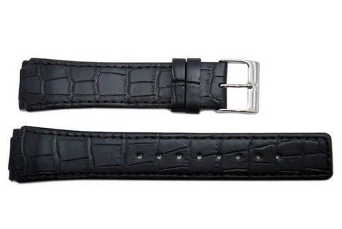 Genuine Skagen Black Crocodile Embossed 22mm Leather Watch Strap - Screws