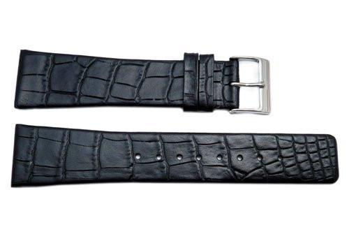 Genuine Skagen Black Crocodile Grain 22mm Leather Watch Strap - Pins