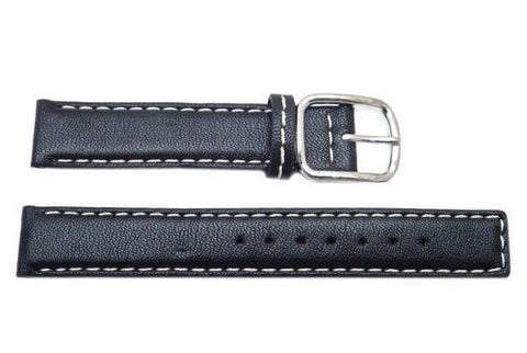 Genuine Coach Black With White Stitching 15mm Leather Watch Band