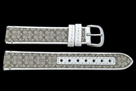 Genuine Coach White Smooth Leather 15mm Monogram Watch Band