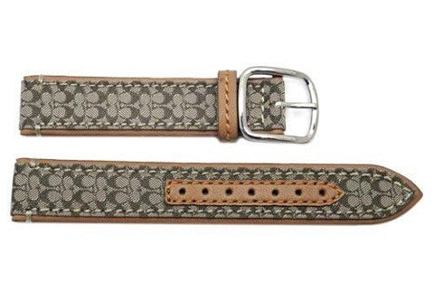 Genuine Coach Khaki Smooth Leather 17mm Monogram Watch Band