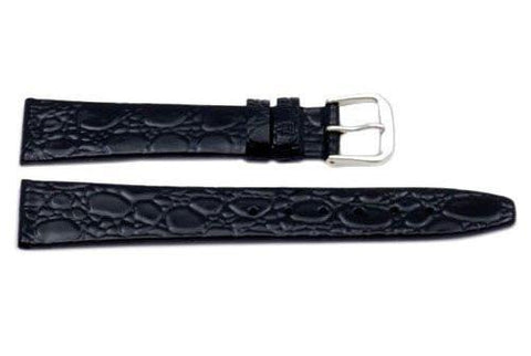 Genuine Crocodile Grain Black Shiny Watch Band