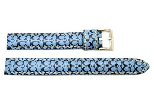 Genuine Coach Blue Leather 12mm Monogram Watch Band