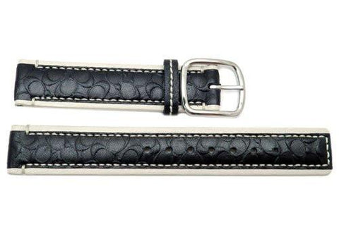Genuine Coach Black and Cream Smooth Leather 18mm Monogram Watch Band