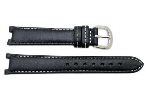 Genuine Coach Black Smooth Leather 15mm Watch Band
