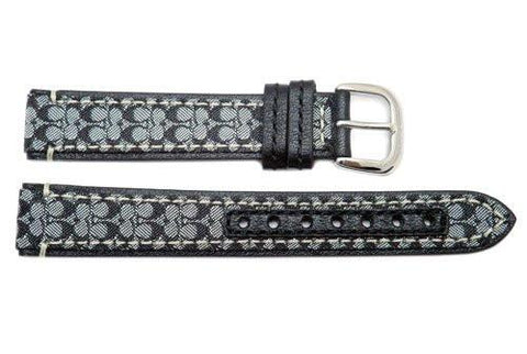 Genuine Coach Black Smooth Leather 15mm Monogram Watch Band