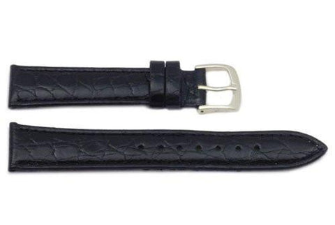 Hadley Roma Light Padded Black Crocodile Grain Leather Long Watch Band