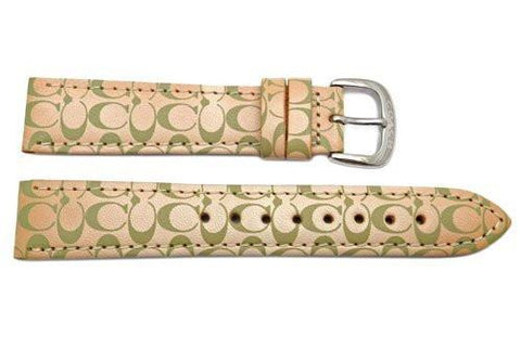 Genuine Coach Beige Leather 18mm Monogram Watch Band