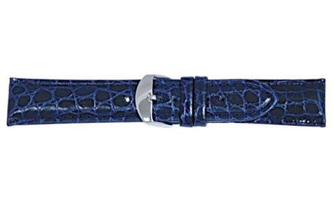 Hadley Roma Blue Heavy Padded Crocodile Grain Leather Strap