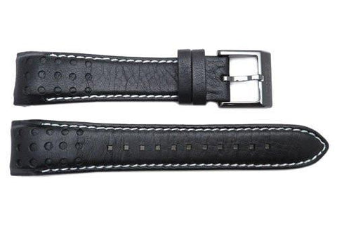 Seiko Black and White Stitching Sportura 21mm Watch Strap