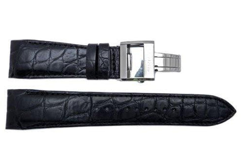 Genuine Seiko Ananta Series Black Crocodile Leather 24mm Watch Strap