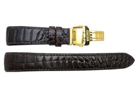 Seiko Genuine Textured Brown Leather Crocodile Grain 22mm Watch Strap