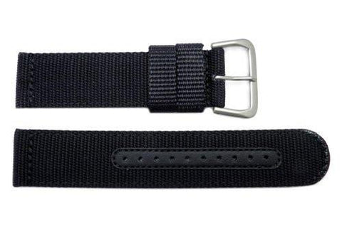 Seiko Black Nylon 22mm Watch Strap