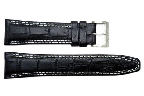 Genuine Seiko Black Leather Crocodile Grain 24mm Watch Strap