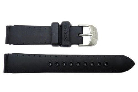 Genuine Seiko Black Silicone Rubber 16mm Watch Band