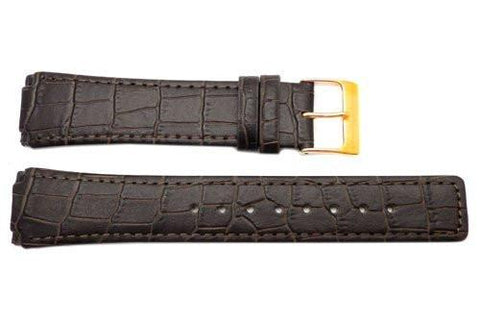 Genuine Skagen Brown Crocodile Embossed Leather Watch Strap - Screws