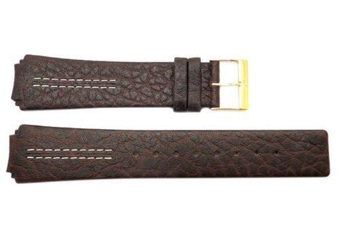 Genuine Skagen Dark Brown Textured Leather 21mm Watch Strap - Pins