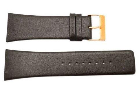 Genuine Skagen Dark Brown Genuine Leather 28mm Watch Strap - Screws