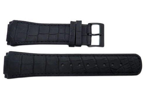 Genuine Skagen Black Textured Leather 25mm Watch Strap - Screws