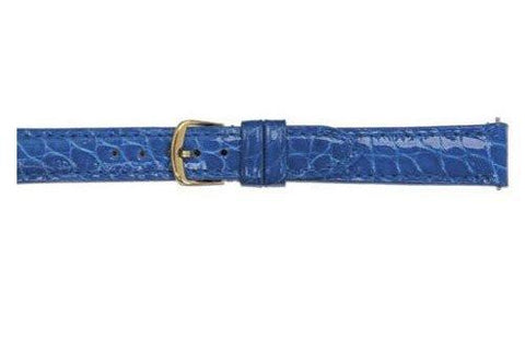 Hadley Roma Cartier Style Genuine Round Grain Alligator Blue Ladies Watch Strap