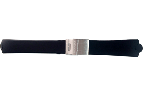 Genuine Movado Black Rubber thermoResin 23/20mm Fold-Over Clasp Watch Strap