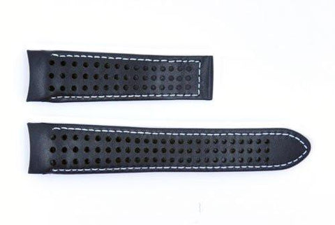 Genuine Movado 21mm Hole Design Genuine Black Leather Watch Strap