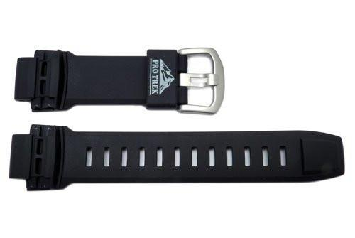 Genuine Casio Protrek Series Smooth Resin Black 27/18mm Watch Strap