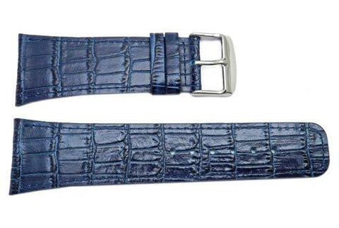 North American Alligator Grain Blue Textured Leather Watch Strap