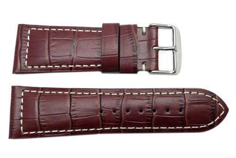 North American Alligator Grain Textured Leather Watch Strap With White Stitch