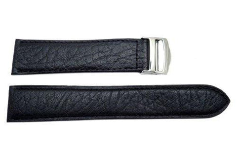 Genuine Wyoming Buffalo Leather Black Remborde Constructed Deployment Watch Strap
