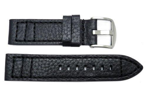 Genuine Buffalo Grain Black Leather Watch Band