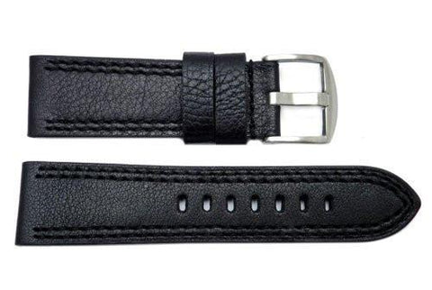 German Soft Double Stitched Leather 24mm Watch Strap