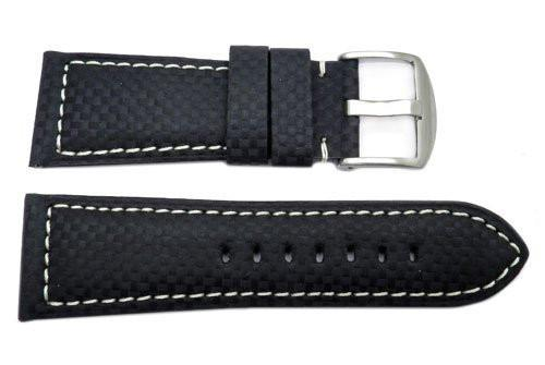 Heavy Padded Carbon Fiber Watch Band With Contrast Stitching
