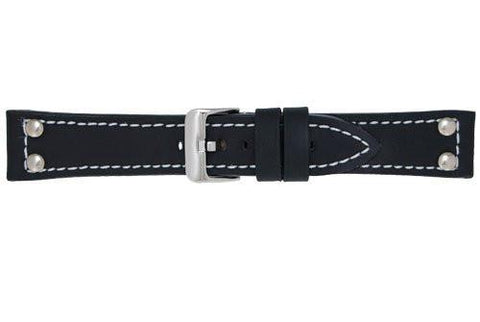 Hadley Roma Black Rubber Sport Leather with Rivets Watch Straps