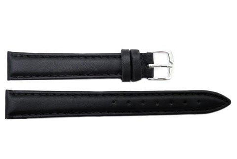 Hadley Roma Ladies Black Genuine Leather Long Watch Strap