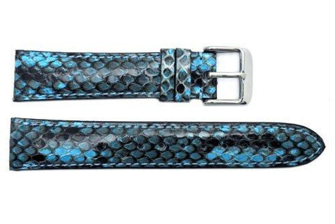 Hadley Roma Genuine Python Glossy Blue Watch Band