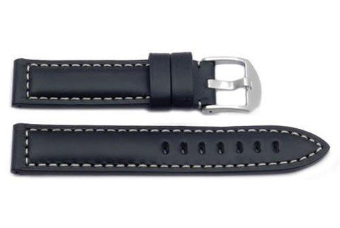 Hadley Roma Heavy Duty Oil Black Sport Leather Watch Strap