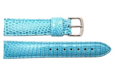 Hadley Roma Light Blue Genuine Java Lizard Light Padded Watch Band