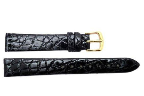 Hadley Roma Black Genuine Crocodile Ladies Watch Strap