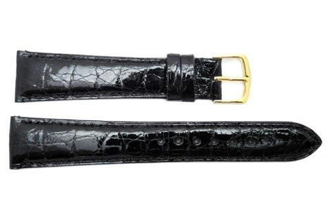 Hadley Roma Cartier Style Genuine Crocodile Black Leather Watch Strap