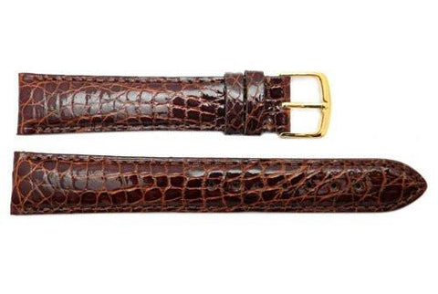 Hadley Roma Cartier Style Genuine Crocodile Honey Leather Watch Strap