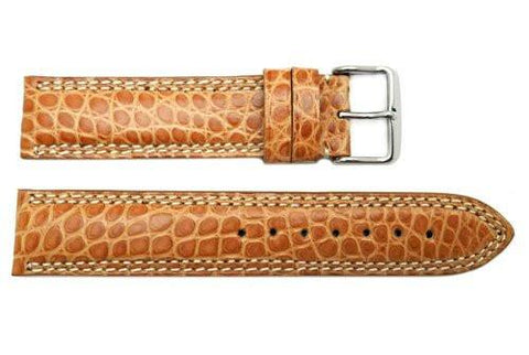 Hadley Roma Men's Tan Genuine Alligator Leather Watch Strap