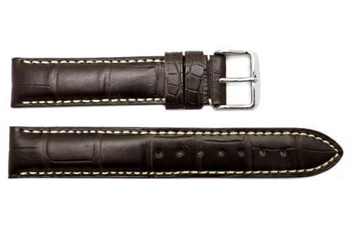 Hadley Roma Men's Dark Brown Genuine Alligator Leather Watch Strap