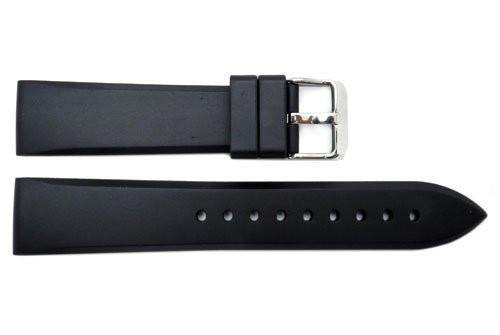 Hadley Roma Men's Black Genuine Rubber 20mm Diver Watch Band