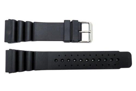 Hadley Roma Black Genuine Rubber Promaster Style 24mm Watch Strap