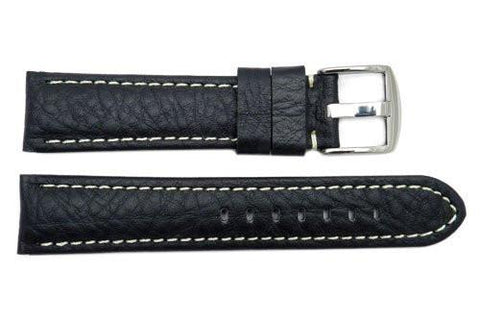 Genuine Textured Black Leather Panerai Style Extra Long Watch Strap