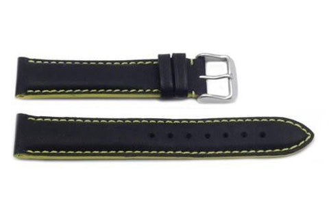 Hadley Roma Yellow Color Contrast Sport Leather Watch Strap