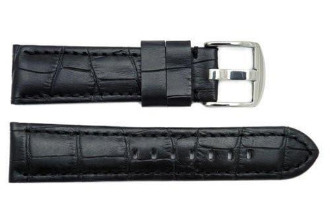 Genuine Crocodile Grain Black Leather Watch Strap